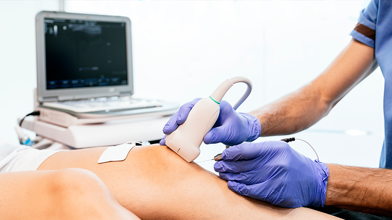 A patient getting a diagnostic imaging ultrasound